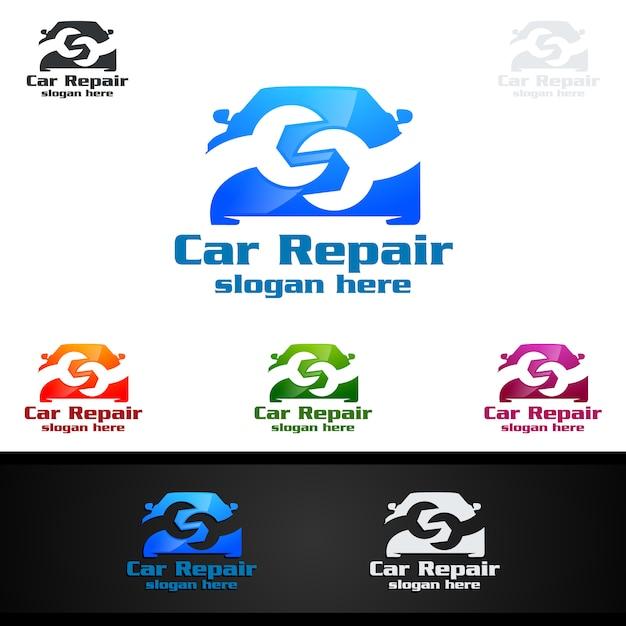 Service de voiture vector logo design Vecteur Premium
