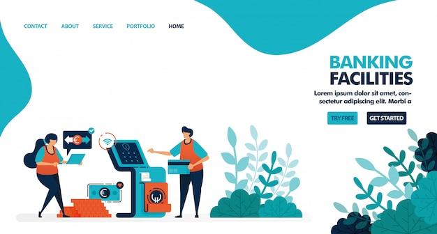Services Bancaires, Distributeur Automatique De Billets Ou Guichet Automatique Vecteur Premium