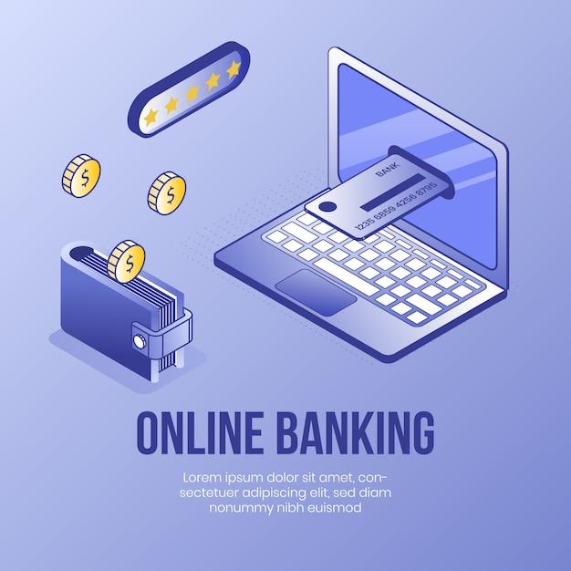 Services bancaires en ligne. concept de design isométrique numérique Vecteur Premium