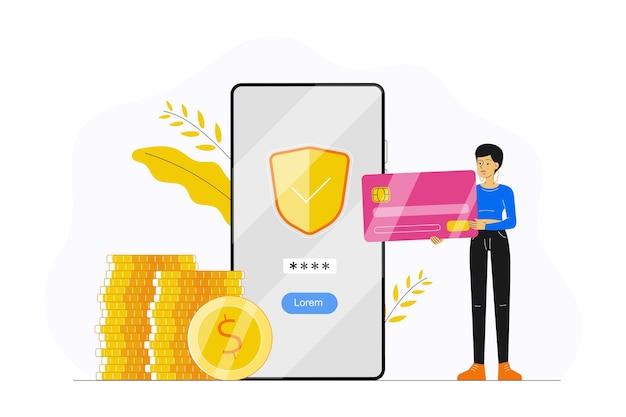 Services Bancaires En Ligne Avec Femme Tenant Une Carte De Crédit Et Paiement Avec Application Smartphone Vecteur Premium