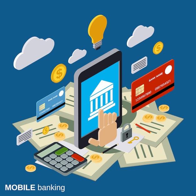 Services bancaires mobiles plat 3d illustration de concept de vecteur isométrique Vecteur Premium