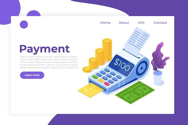 Services Bancaires Par Internet, Paiement Mobile Numérique, Concept Isométrique De Terminal Pos Isométrique. Vecteur Premium