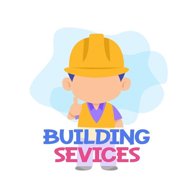 Services de bâtiment avec vecteur ouvrier Vecteur Premium