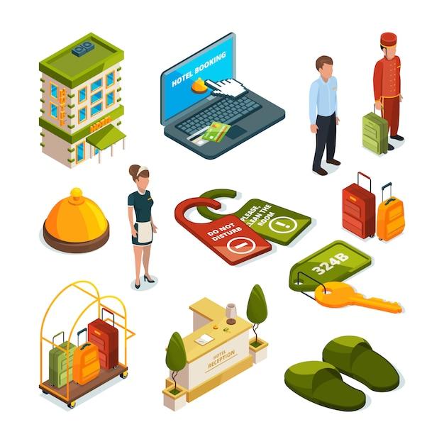 Services hôteliers. Vecteur Premium