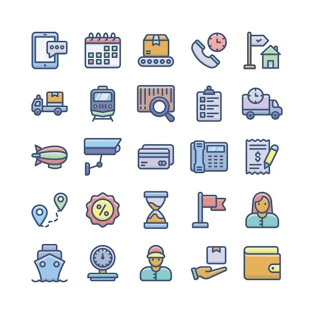 Services de livraison, expédition et logistique flat icons set Vecteur Premium
