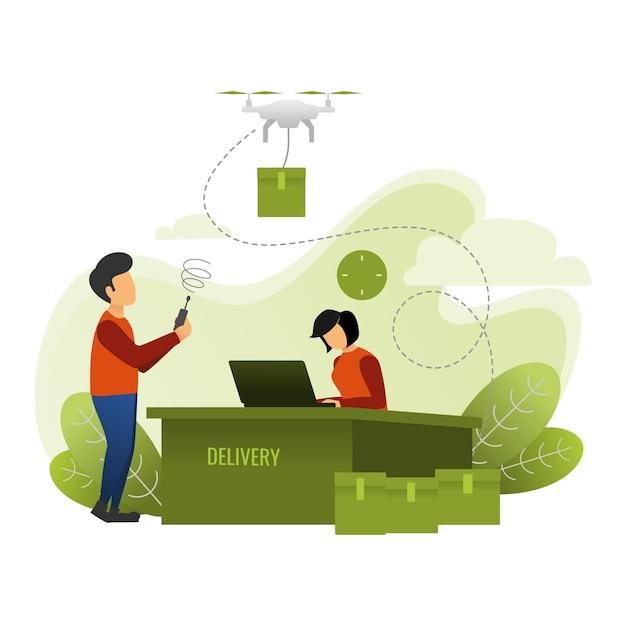 Services de livraison express de colis à l'aide de drones Vecteur Premium