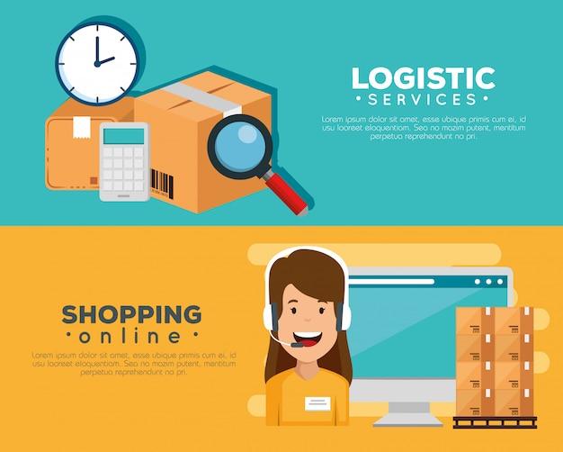 Services Logistiques Avec Agent De Support Et Bannière Informatique Vecteur gratuit