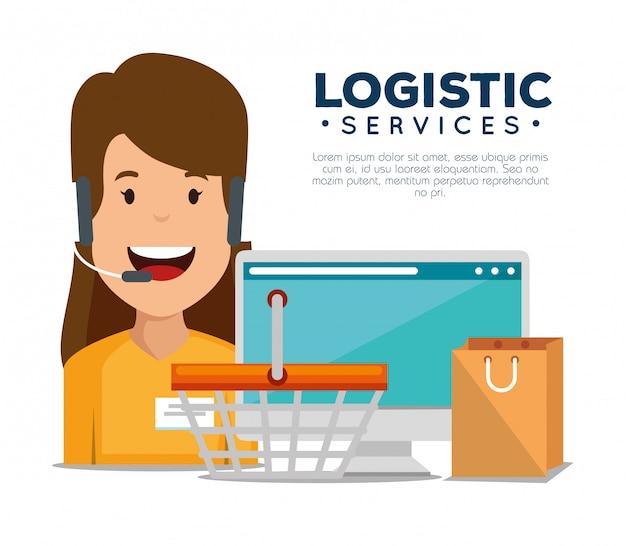 Services Logistiques Avec Agent De Support Et Ordinateur Vecteur gratuit