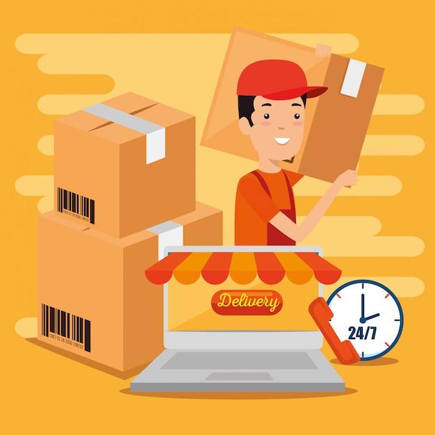 Services Logistiques Avec Ordinateur Portable Vecteur gratuit
