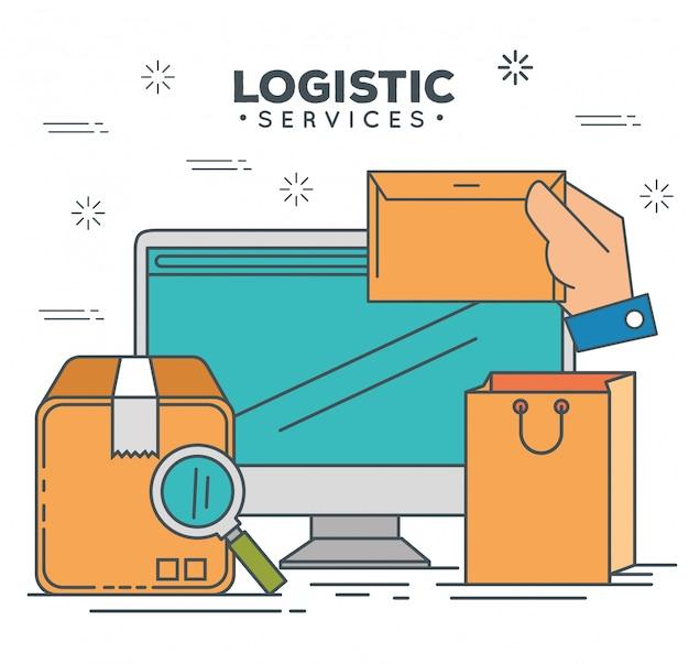 Services Logistiques Avec Ordinateur Vecteur gratuit