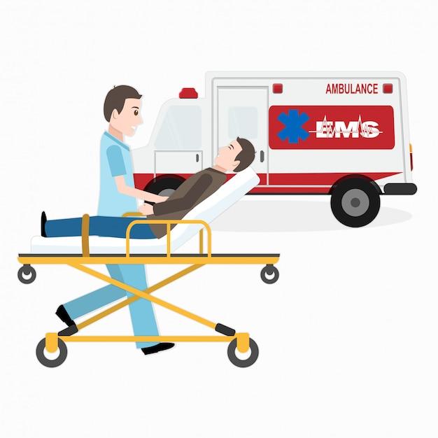 Services médicaux d'urgence, sauvetage médical Vecteur Premium