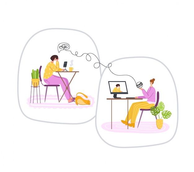 Services Psychologiques En Ligne - Assistance Personnelle à Distance Ou Assistance à Domicile Par Internet. Bouleversé, Girl, écoute, Psychologue, Docteur Vecteur Premium