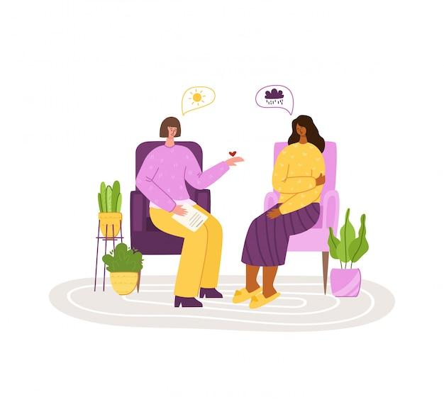 Services Psychologiques - Soutien Personnel, Assistance Dans Un Bureau Confortable Ou à Domicile. Bouleversé Une Fille En Difficulté à écouter Un Psychologue Vecteur Premium