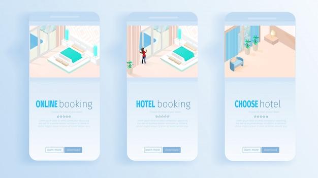 Services de réservation d'hôtel en ligne pour des bannières de vacances Vecteur Premium