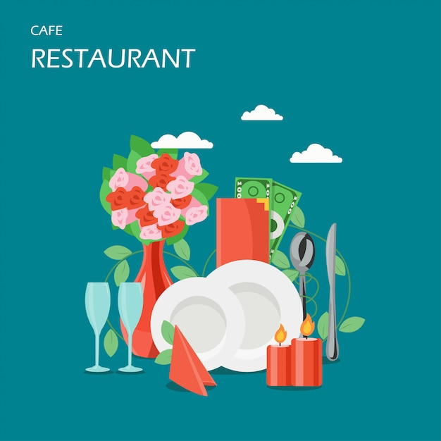 Services de restaurant vector illustration de style plat Vecteur Premium