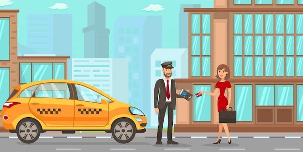 Services de taxi et de chauffeur Vecteur Premium