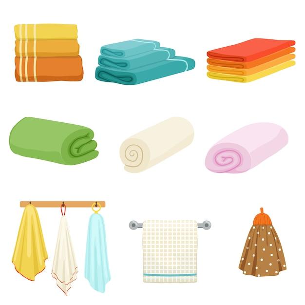 Serviettes de bain ou de cuisine douces et blanches. Vecteur Premium