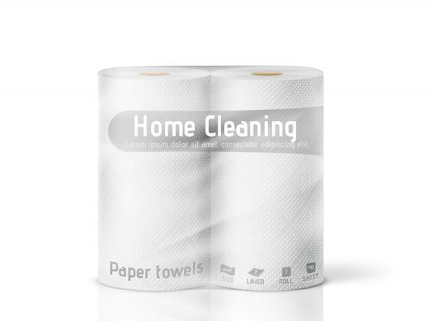 Serviettes En Papier Blanc Dans Un Emballage Sur Fond Blanc. Illustration Vecteur Premium