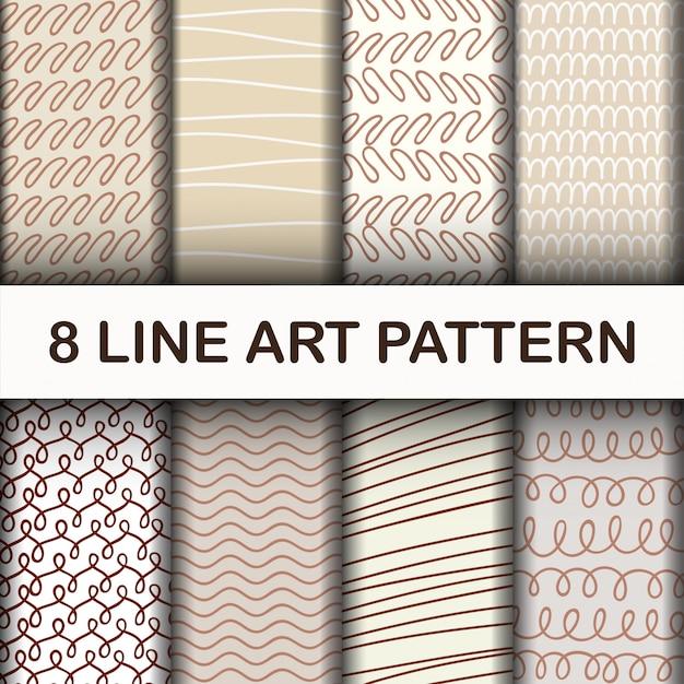 Set abstract line art pattern Vecteur Premium