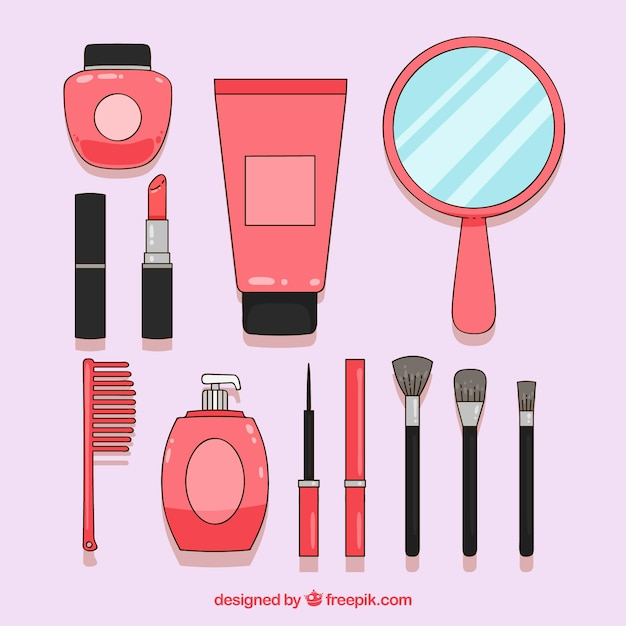 Set d'accessoires de beauté Vecteur gratuit