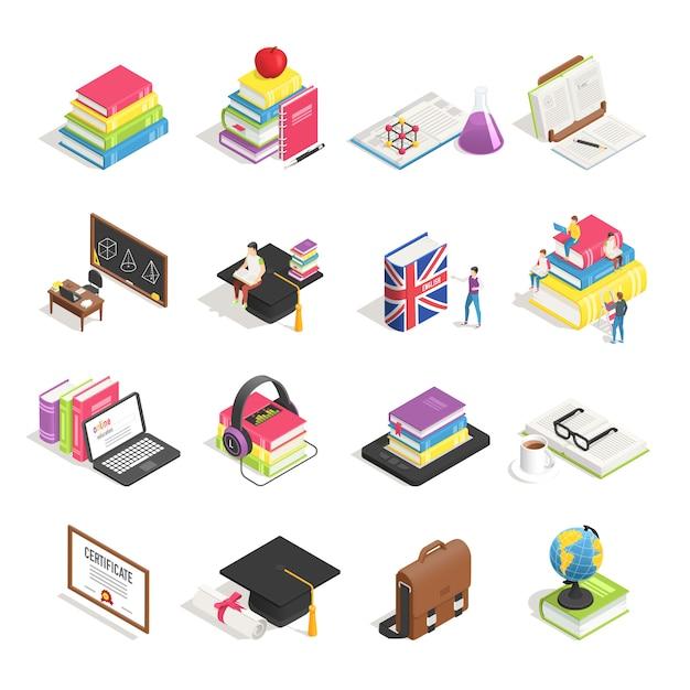 Set d'accessoires pour l'enseignement collégial isométrique Vecteur Premium