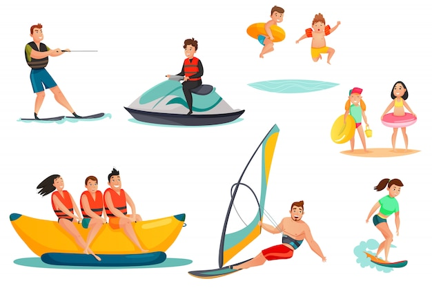 Set d'activités nautiques d'été Vecteur gratuit