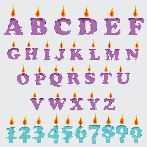 Set d'alphabet graphique de bougie de vecteur Vecteur Premium