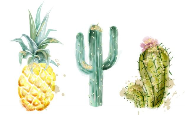 Set d'ananas et cactus aquarelle Vecteur Premium
