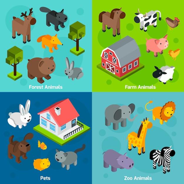 Set d'animaux isométriques Vecteur gratuit