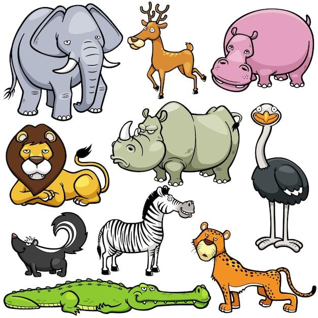 Set d'animaux sauvages Vecteur Premium