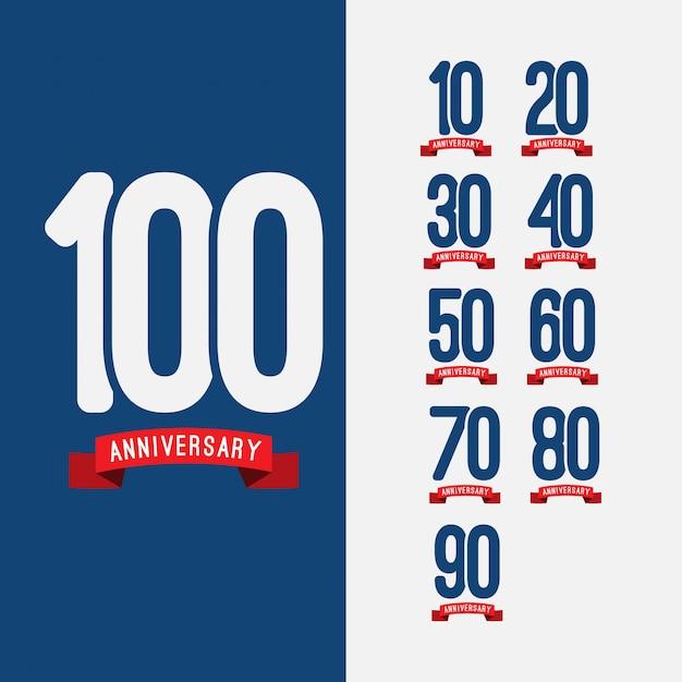 Set anniversaire 100 ans Vecteur Premium