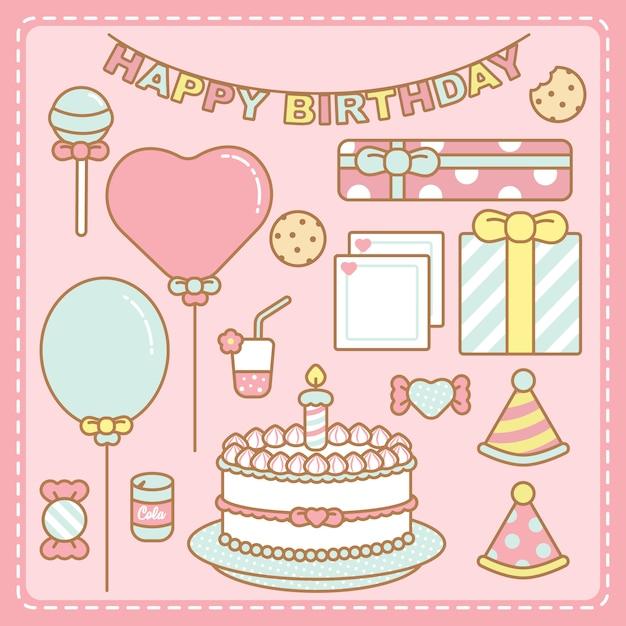 Set d'anniversaire kawaii couleurs pastel Vecteur Premium