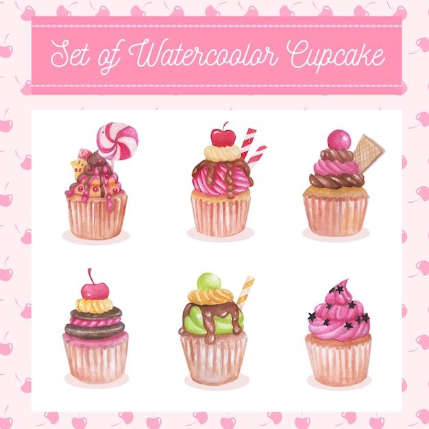 Set aquarelle de cupcake sucré Vecteur Premium
