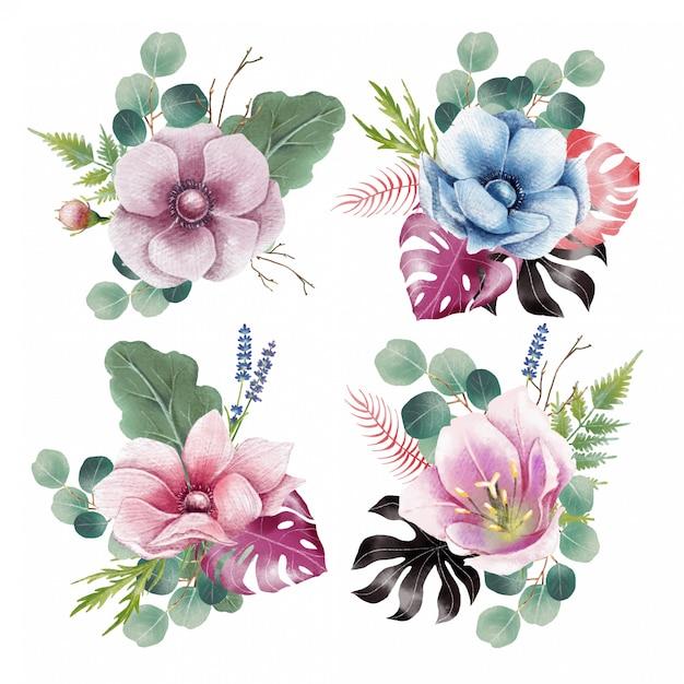 Set aquarelle de décoration de fleurs Vecteur Premium