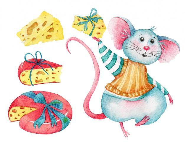 Set aquarelle de souris et fromages mignons Vecteur Premium