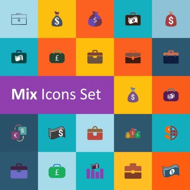 Set d'argent icônes vector illustration Vecteur gratuit