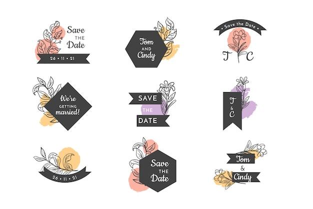 Set badge floral de mariage Vecteur gratuit