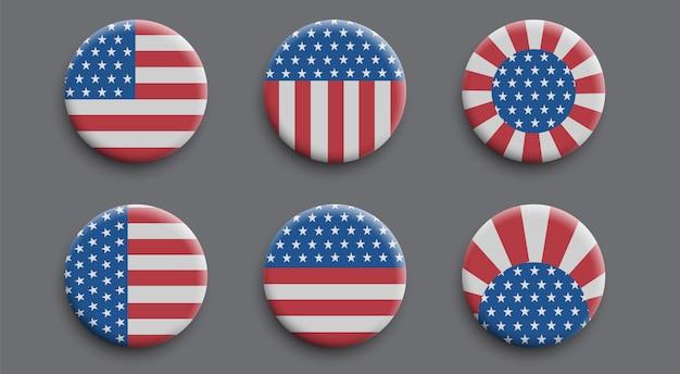 Set de badges 3d avec drapeau américain Vecteur Premium