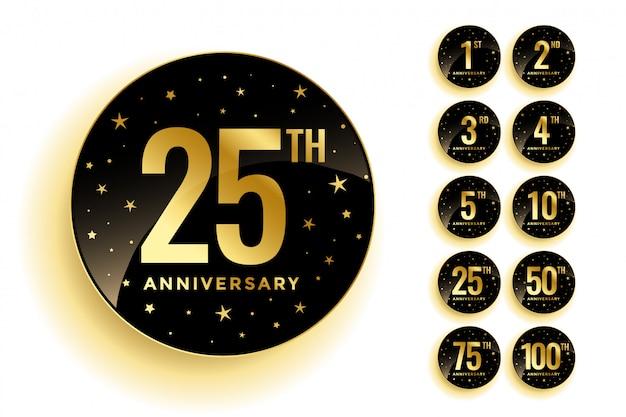 Set de badges d'anniversaire d'or Vecteur gratuit