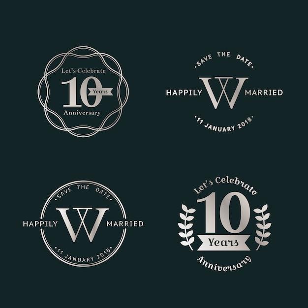 Set de badges d'anniversaire Vecteur gratuit