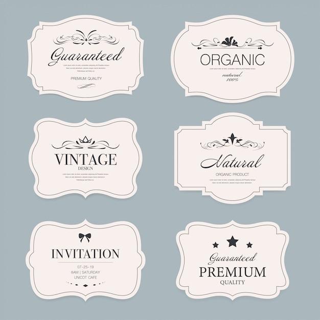 Set de badges de bannière étiquette vintage. Vecteur Premium