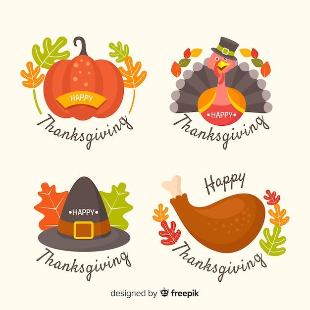 Set de badges design plat thanksgiving Vecteur gratuit