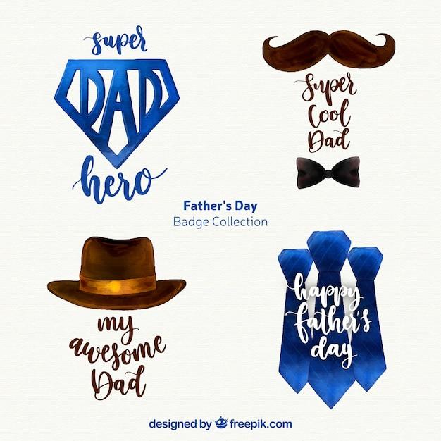 Set de badges de fête des pères avec accessoires Vecteur gratuit