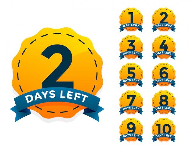 Set de badges jaunes pour le nombre de jours restants Vecteur gratuit