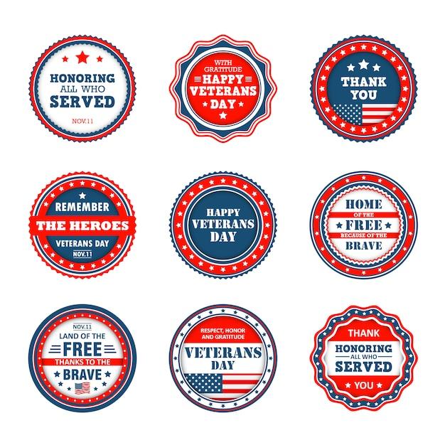 Set de badges à la journée des anciens combattants en amérique Vecteur Premium
