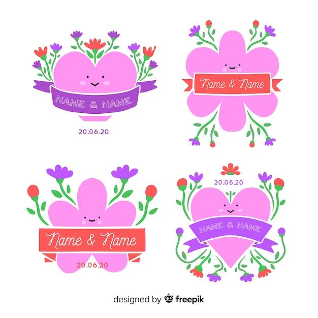 Set de badges mariage floral dessinés à la main Vecteur gratuit