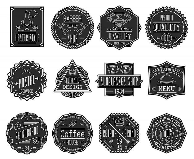 Set de badges rétro Vecteur gratuit