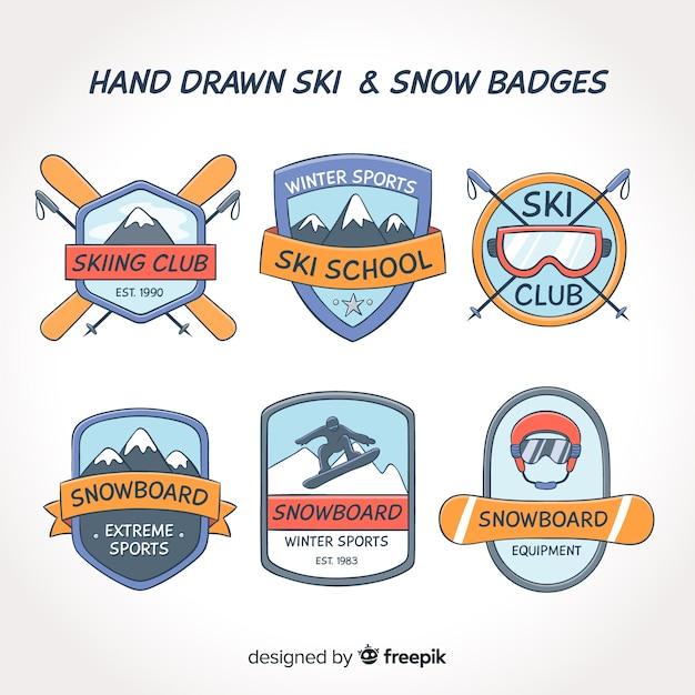 Set de badges ski et neige dessinés à la main Vecteur gratuit