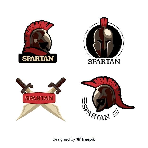 Set de badges spartiates Vecteur gratuit