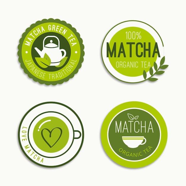 Set De Badges Thé Matcha Vecteur gratuit